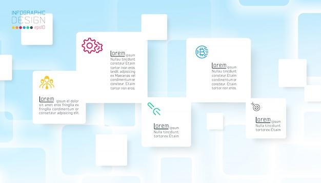 Quadratische infografiken auf blauem abstraktem hintergrund