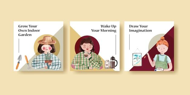 Quadratische instagram-beitragsvorlage mit aquarellillustration der charaktere des täglichen lebens