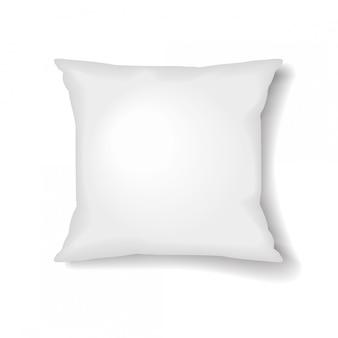 Quadratische kissenschablone auf weißem hintergrund