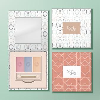 Quadratische lidschatten-palette aus recycelbarem papier mit spiegel und geometrischem muster