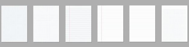 Quadratische, linierte papierblätter, notizbuch mit rasterseiten.