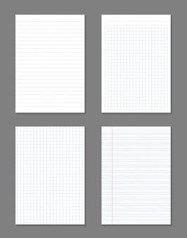 Quadratische, linierte papierbögen, notizbuch mit rasterseiten.