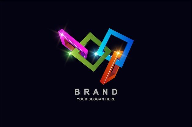 Quadratische logo-entwurfsschablone der abstrakten konstruktion 3d-rahmen