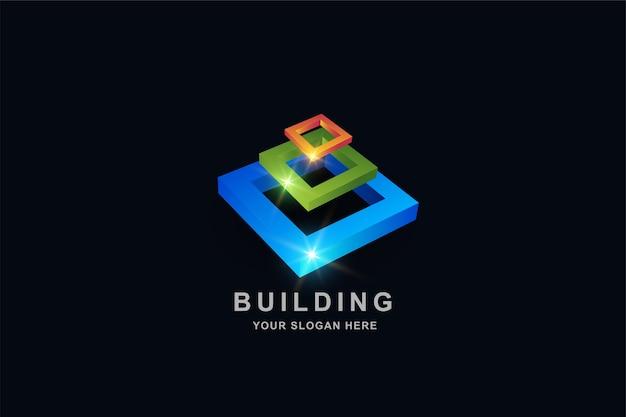 Quadratische logo-entwurfsvorlage für turm-, gebäude- oder konstruktionsrahmenturm, quadratische logo-entwurfsvorlage für turm-, gebäude- oder konstruktionsrahmen