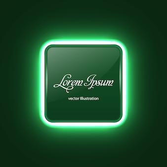 Quadratische neonfahne mit glühenlichteffekt