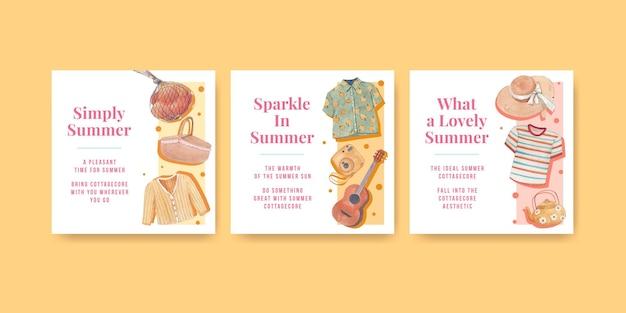 Quadratische pfostenschablone mit sommer-cottagecore-konzept, aquarellart