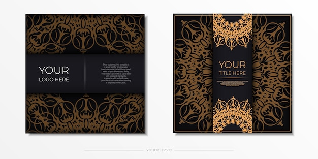 Quadratische postkarten in schwarz mit luxuriösen ornamenten. vektordesign der einladungskarte mit vintage-mustern.