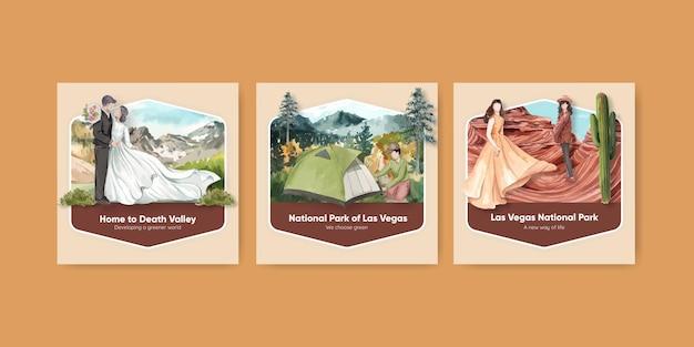 Quadratische postschablone mit nationalparks des konzepts der vereinigten staaten, aquarellstil