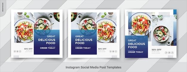 Quadratische postvorlage für lebensmittel in sozialen medien