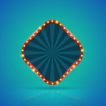 Quadratische retro- helle fahne mit glühlampen auf der kontur