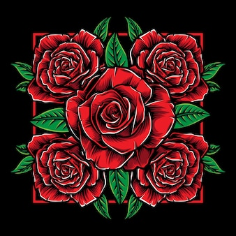 Quadratische rote rosenillustration