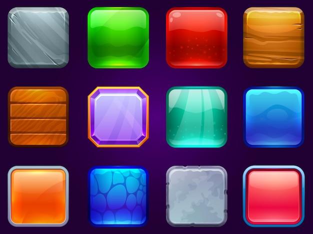 Quadratische schaltflächen der spiel-benutzeroberfläche. knopfrahmen aus metall, stahl, holz und diamant. cartoon hochglanzknöpfe eingestellt.