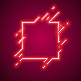 Quadratische trendige neon-banner