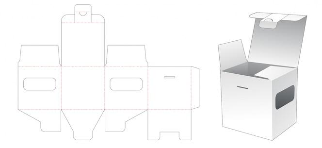 Quadratische verpackung mit gestanzter schablone für fenster