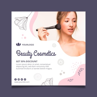Quadratische vorlage des schönheitsgesichtskosmetikfliegers