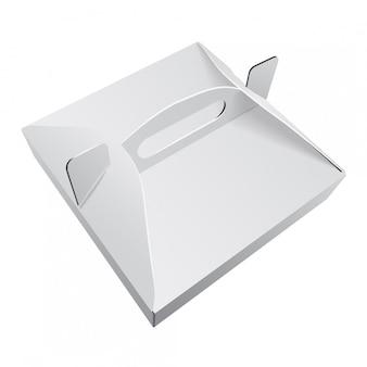 Quadratische weiße kraftpapier-pizzaschachtel-lebensmittelverpackung mit griffschablone. pappe pappe