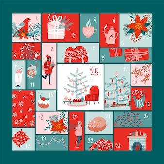 Quadratischer adventskalender mit weihnachtselementen im flachen hygge-stil