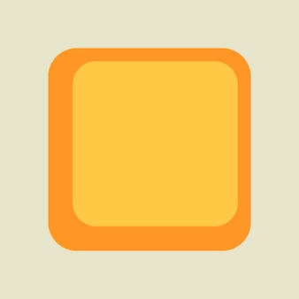 Quadratischer aufkleberrahmen, einfaches retro- gelbes design auf weißem hintergrundvektor