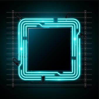 Quadratischer blauer neonfahnendesign