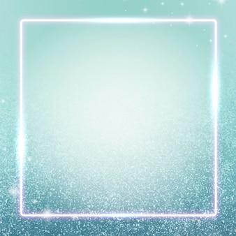 Quadratischer blauer neonrahmendesignhintergrund