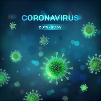 Quadratischer coronavirus-hintergrund. viruszelle in mikroskopischer ansicht