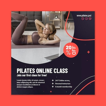 Quadratischer flyer der pilates online-klasse