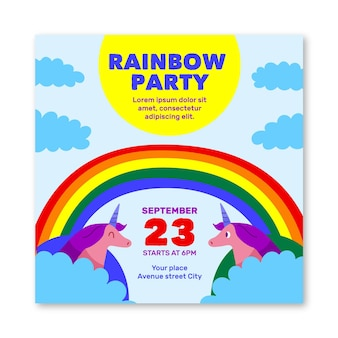 Quadratischer flyer der regenbogenparty