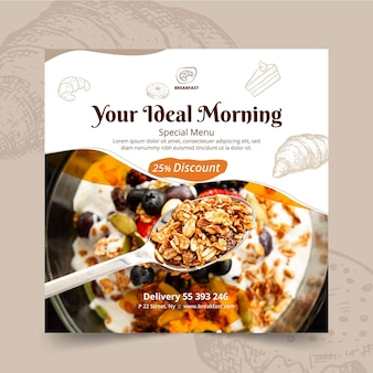 Quadratischer flyer des frühstücksrestaurants