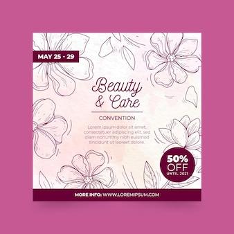 Quadratischer flyer für schönheit und pflege