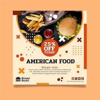 Quadratischer flyer mit amerikanischem essen