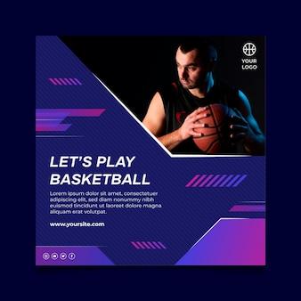 Quadratischer flyer mit männlichem basketballspieler