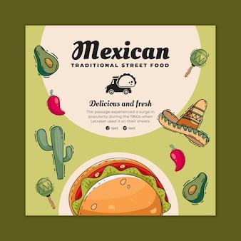 Quadratischer flyer mit mexikanischem essen