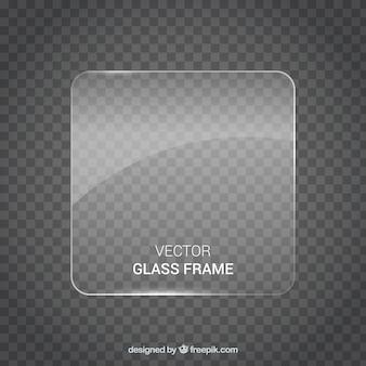 Quadratischer glasrahmen im realistischen stil
