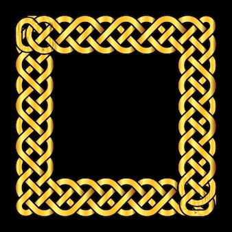 Quadratischer goldener keltischer knotenvektorrahmen