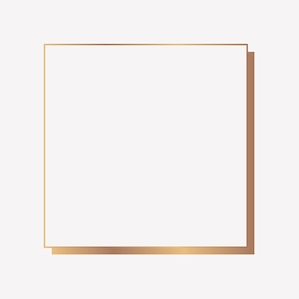 Quadratischer goldrahmen auf einem leeren hintergrund