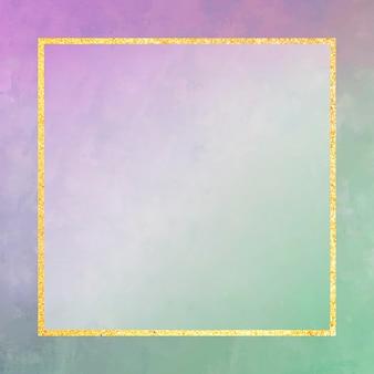 Quadratischer goldrahmen auf lila und grünem hintergrundvektor
