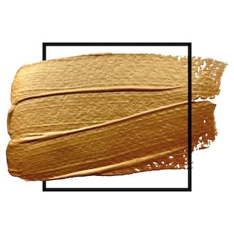 Quadratischer goldrahmen mit beigem pinselstrich