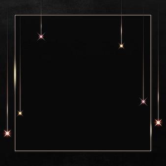 Quadratischer goldrahmen mit glitzermuster auf schwarzem hintergrund
