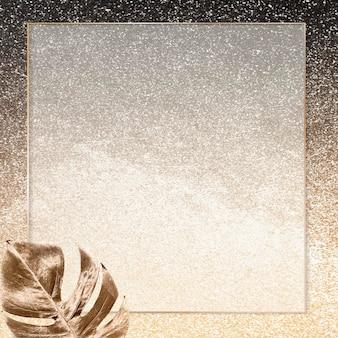 Quadratischer goldrahmen mit metallischem monstera-blatthintergrundvektor