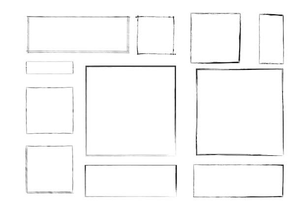 Quadratischer grunge-rahmen schmutziger rahmen gestaltungselement für banner-nachricht-einladungs-grußkarte