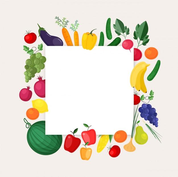Quadratischer hintergrund oder fahnenschablone mit rahmen aus frischem bio-obst und gemüse aus lokalem anbau. bunte illustration für erntefest, lokalen bauernmarkt, faire werbung.