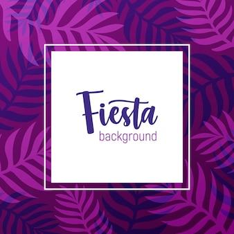 Quadratischer hintergrund verziert durch lila rahmen aus exotischen palmenzweigen