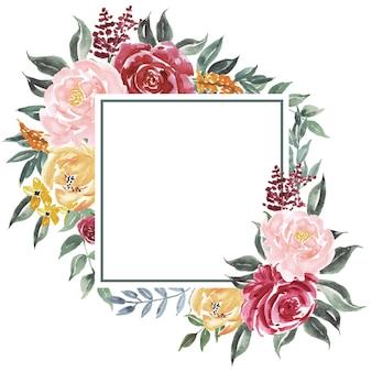 Quadratischer hintergrund von weinleseaquarellblumen