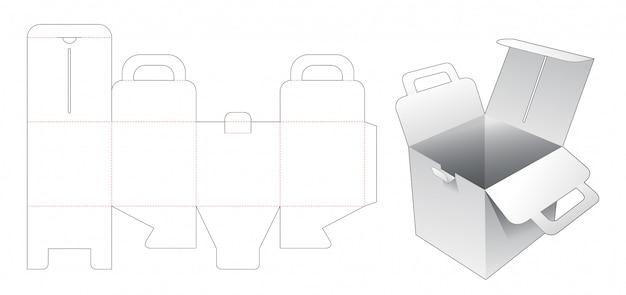 Quadratischer karton aus karton mit gestanzter schablonenhalterung