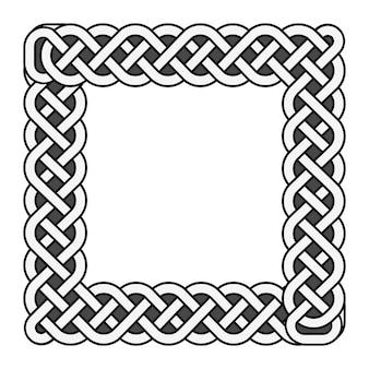 Quadratischer keltischer knotenvektor mittelalterlicher rahmen in schwarzweiss
