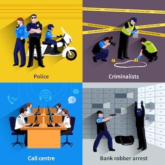 Quadratischer konzeptsatz der polizei von polizistenleutenbankräuberaufnahmearbeitskriminalisten und flache schattenvektorillustration des callcenters
