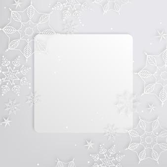 Quadratischer kopienraum-winterhintergrund im papierstil