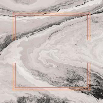 Quadratischer kupferrahmen auf marmorhintergrund