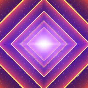 Quadratischer leuchtender tunnel aus rosa lichtern