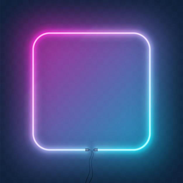 Quadratischer neonrahmen, bordüre mit draht.